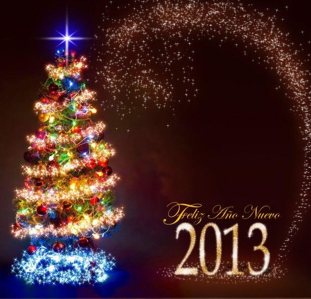 postal-de-Navidad-con-pinito-y-luces-de-colores-con-mensaje-de-feliz-año-nuevo-2013